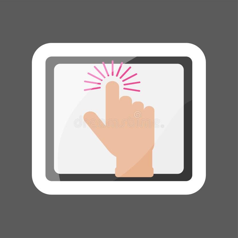 A mão clica sobre o botão no PC da tabuleta Portátil c do ícone do vetor ilustração stock