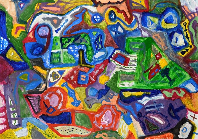 Mão colorida abstrata fundo pintado ilustração do vetor