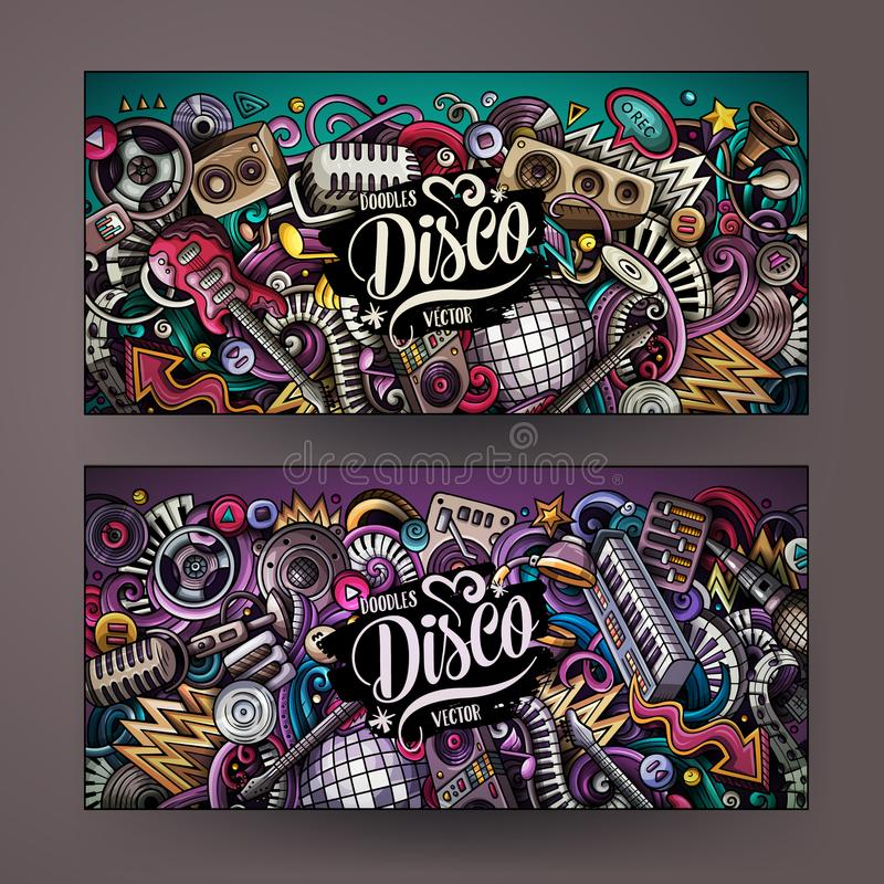 A mão colorida bonito do vetor dos desenhos animados tirada rabisca bandeiras da música do disco ilustração royalty free