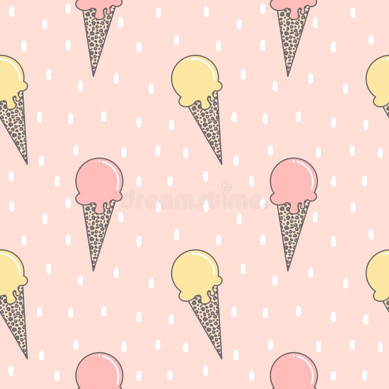 Mão colorida bonito ilustração sem emenda tirada do fundo do teste padrão do vetor do verão com gelado com o cone da cópia do leo ilustração stock
