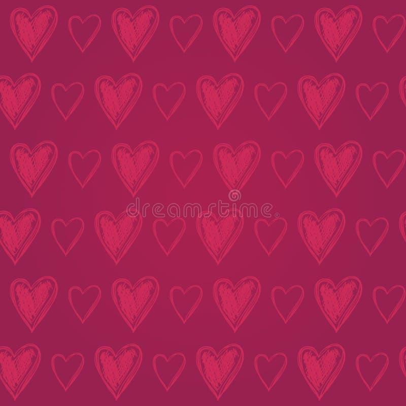 Mão colorida bonito teste padrão sem emenda tirado com corações, Val feliz ilustração stock