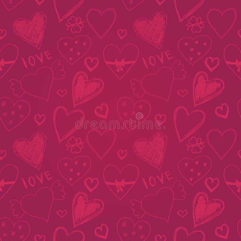 Mão colorida bonito teste padrão sem emenda tirado com corações, Val feliz ilustração do vetor