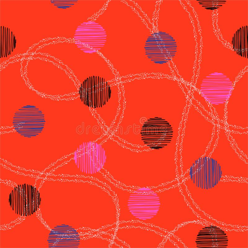Mão colorida círculo e às bolinhas tirados com linha dobro tirada mão vetor sem emenda aleatório do teste padrão Projeto para a f ilustração royalty free