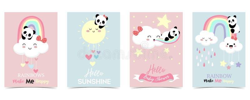 M?o colorida cart?o bonito tirado com cora??o, nuvem, panda e chuva O arco-?ris faz-me feliz ilustração royalty free