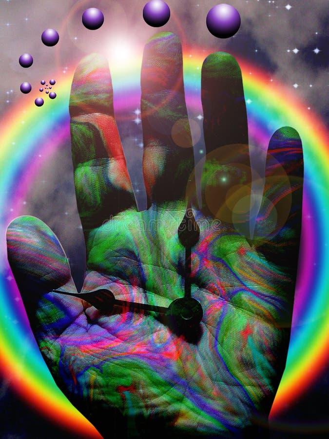 Mão colorida do tempo ilustração royalty free