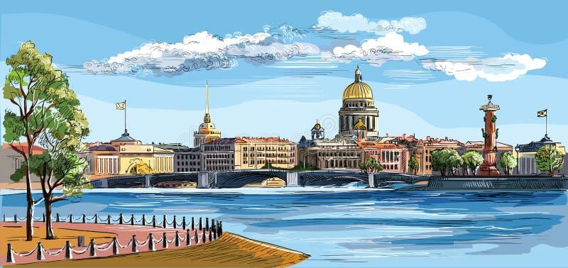 Mão colorida do vetor que tira St Petersburg 8 ilustração do vetor