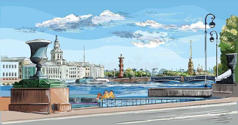Mão colorida do vetor que tira St Petersburg 10 ilustração royalty free
