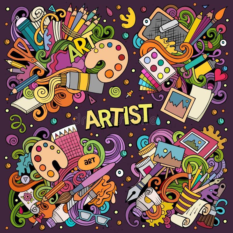 A mão colorida do vetor tirada rabisca o grupo dos desenhos animados de combinações do artista de objetos ilustração royalty free