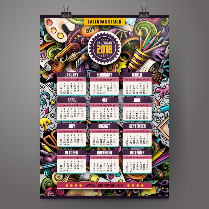 A mão colorida dos desenhos animados tirada rabisca o artista calendário de 2018 anos ilustração stock