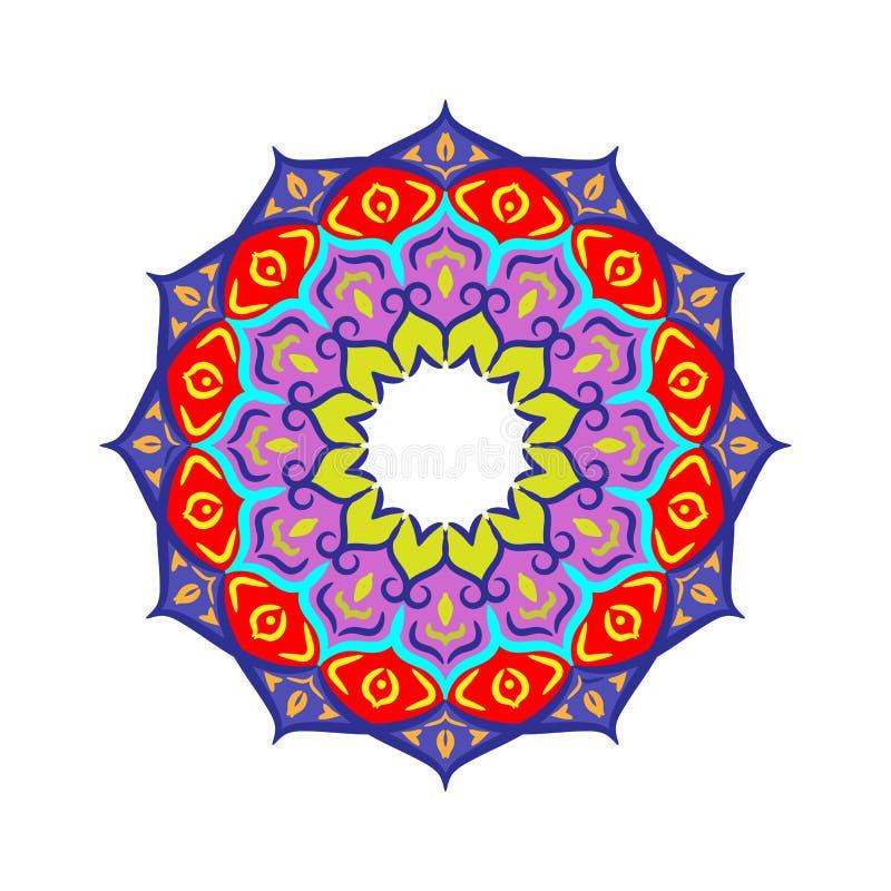Mão colorida elemento floral tirado do círculo da geometria da mandala Ilustra??o do vetor ilustração royalty free