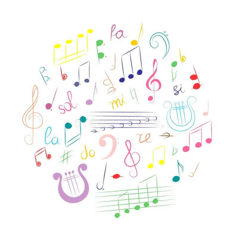 Mão colorida grupo tirado de símbolos de música Clave de sol, Bass Clef, notas e lira da garatuja arranjados em um círculo ilustração stock