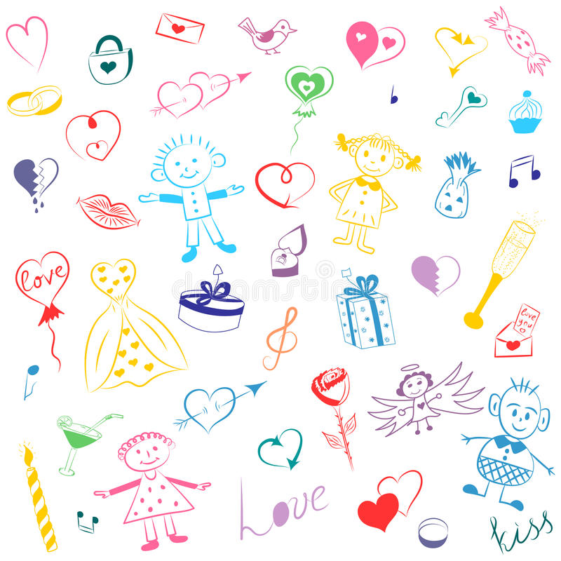 Mão colorida grupo tirado de símbolos do dia do ` s do Valentim Desenhos bonitos do ` s das crianças dos corações, dos presentes, ilustração stock