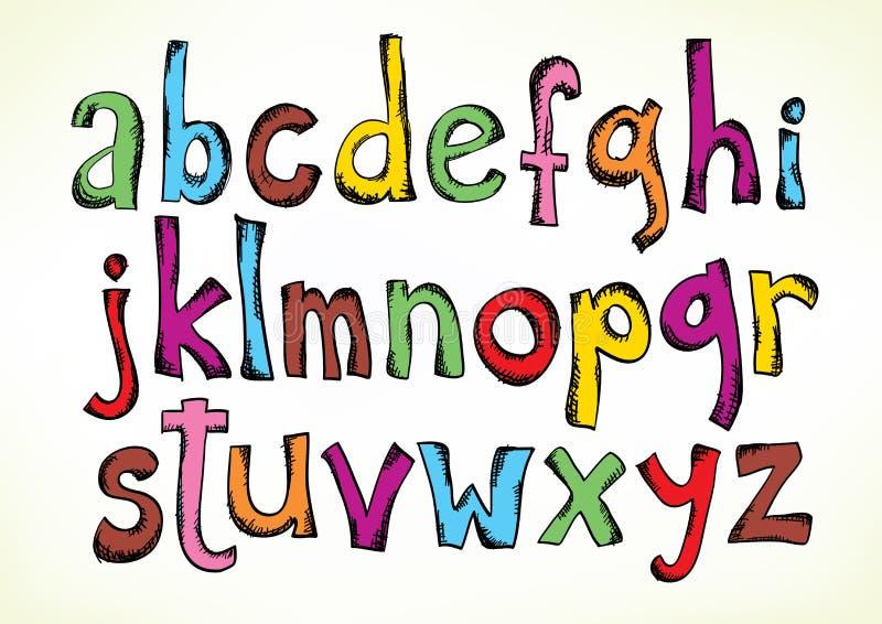Letras Doodled do alfabeto ilustração royalty free