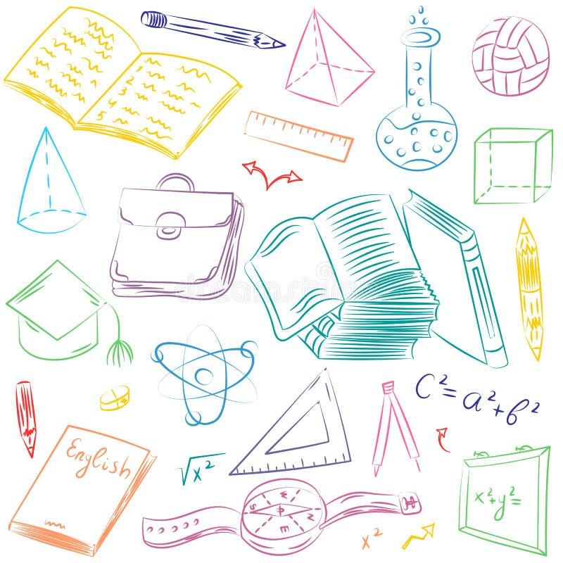 Mão colorida símbolos tirados da escola Desenhos da bola, livros das crianças, lápis, réguas, garrafa, compasso, setas ilustração do vetor