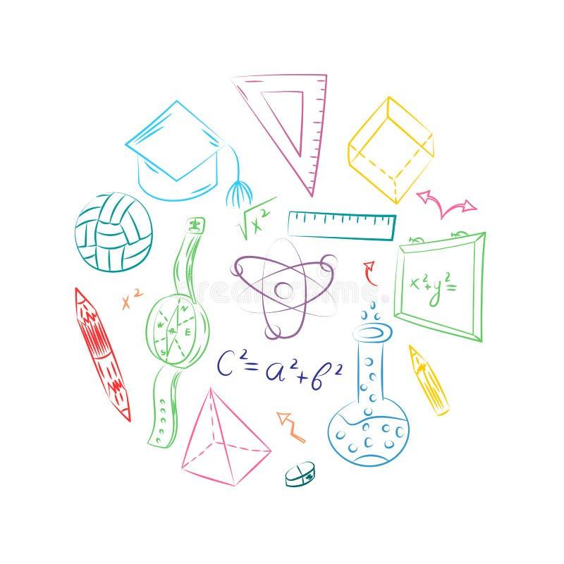Mão colorida símbolos tirados da escola Desenhos da bola, livros das crianças, lápis, réguas, garrafa, compasso, setas arranjadas ilustração royalty free