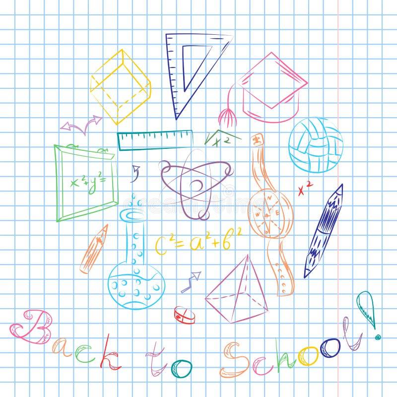 Mão colorida símbolos tirados da escola Desenhos da bola, livros das crianças, lápis, réguas, garrafa, compasso, setas arranjadas ilustração do vetor