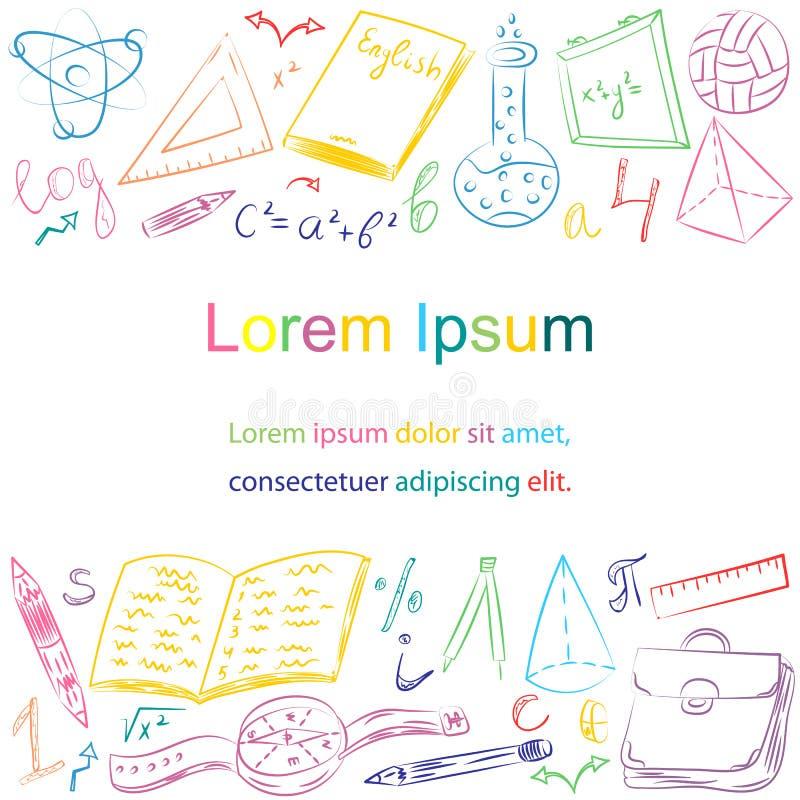 Mão colorida símbolos tirados da escola Desenhos da bola, livros das crianças, lápis, réguas, garrafa, compasso, setas com lugar  ilustração do vetor