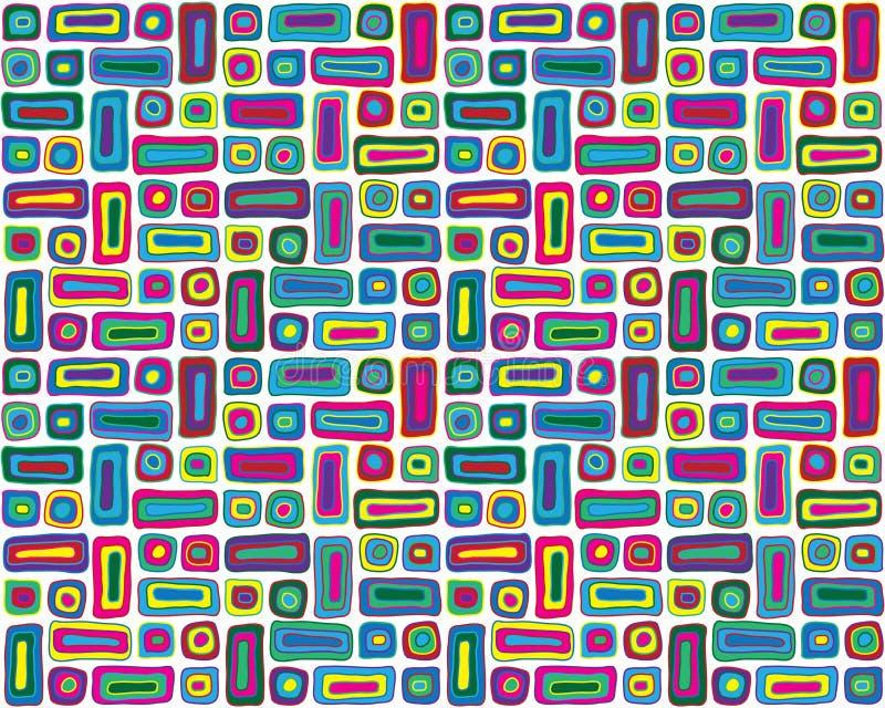 Mão colorida teste padrão retro desenhado ilustração do vetor