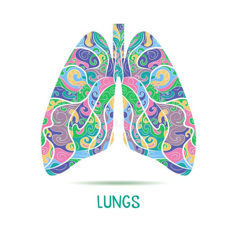 A mão colorida tirada esboçou os pulmões foto de stock