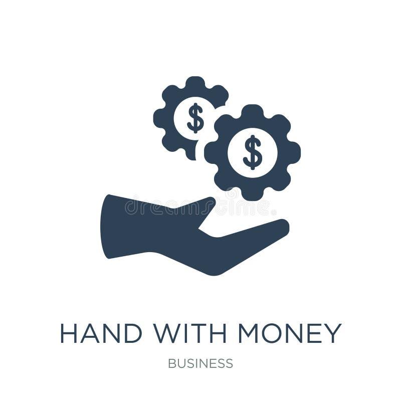 mão com ícone da engrenagem do dinheiro no estilo na moda do projeto mão com o ícone da engrenagem do dinheiro isolado no fundo b ilustração royalty free