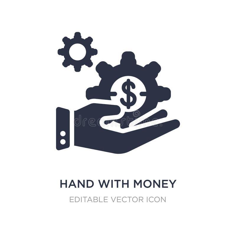 mão com ícone da engrenagem do dinheiro no fundo branco Ilustração simples do elemento do conceito do negócio ilustração stock