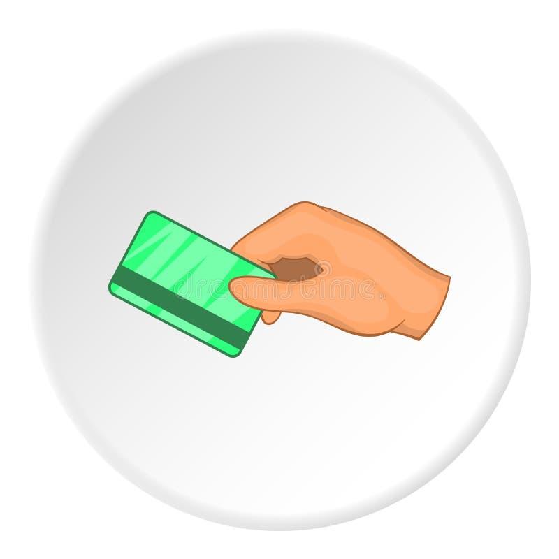 Mão com ícone do cartão chave de sala do hotel, estilo dos desenhos animados ilustração stock