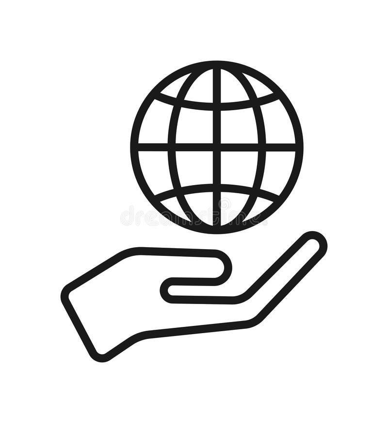 Mão com ícone do globo ilustração royalty free
