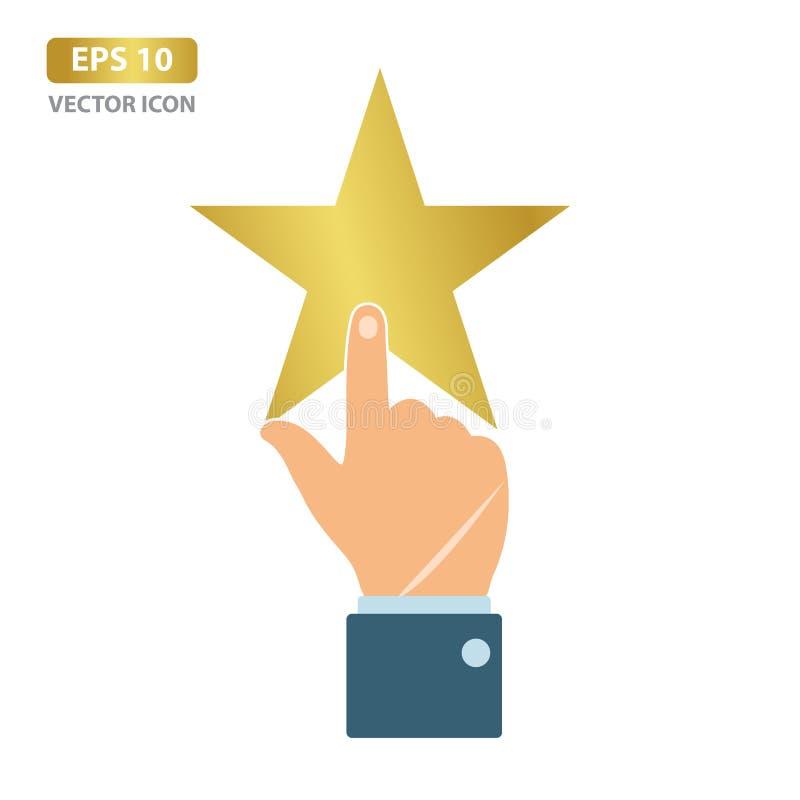 Mão com apontar o dedo que aponta à estrela Ilustra??o do vetor ilustração stock
