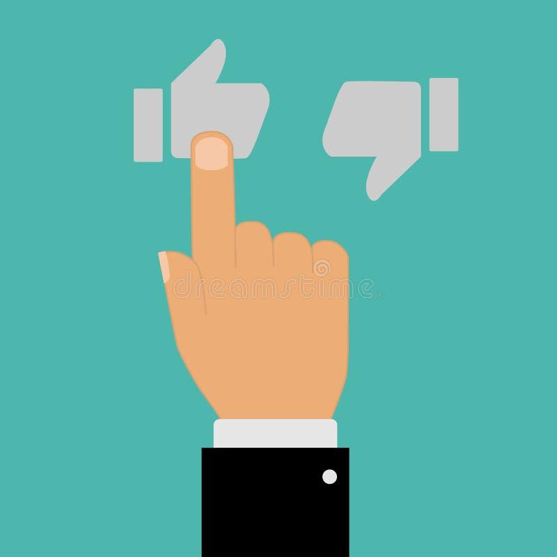 mão com apontar o polegar do dedo acima para baixo ilustração stock