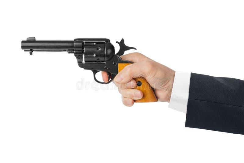 Mão com arma do revólver imagens de stock
