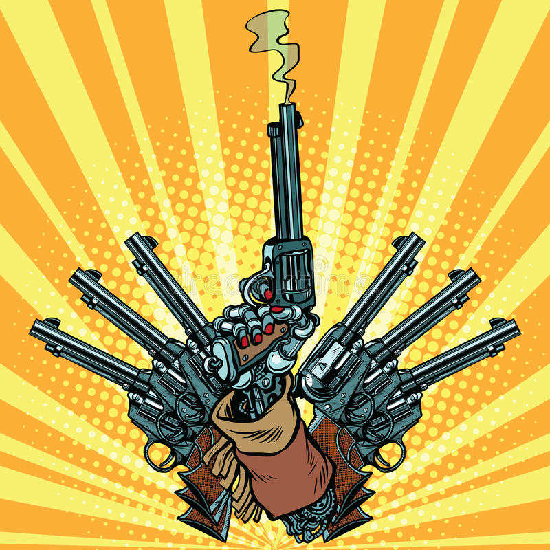Mão com as armas do pop art do tiro dos revólveres ilustração do vetor