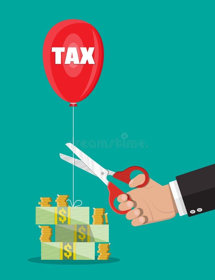 Mão com as tesouras que cortam a corda do balão do imposto ilustração royalty free