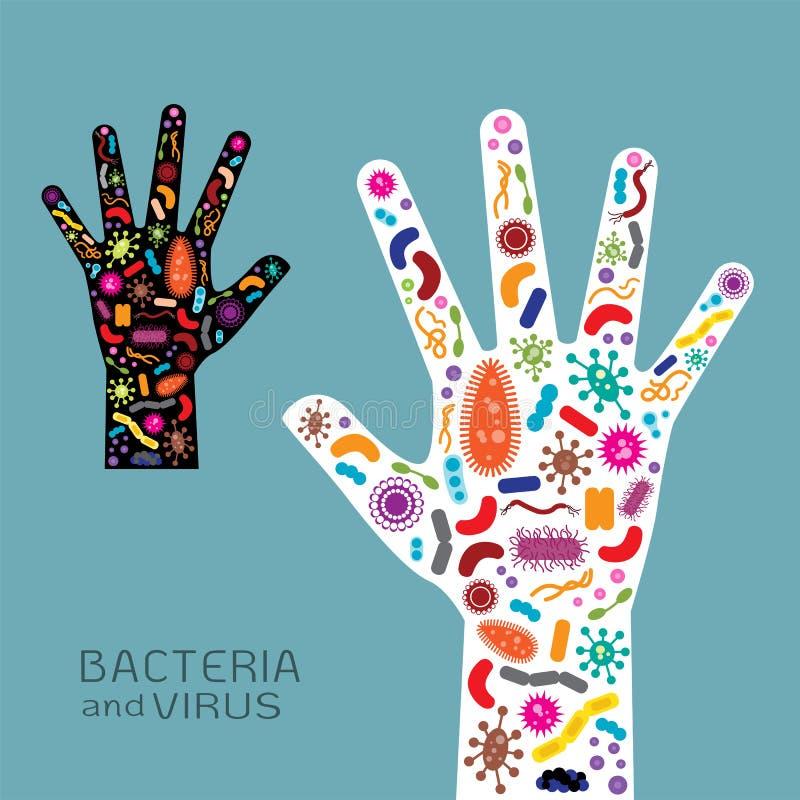 Mão com bactérias e vírus ilustração do vetor