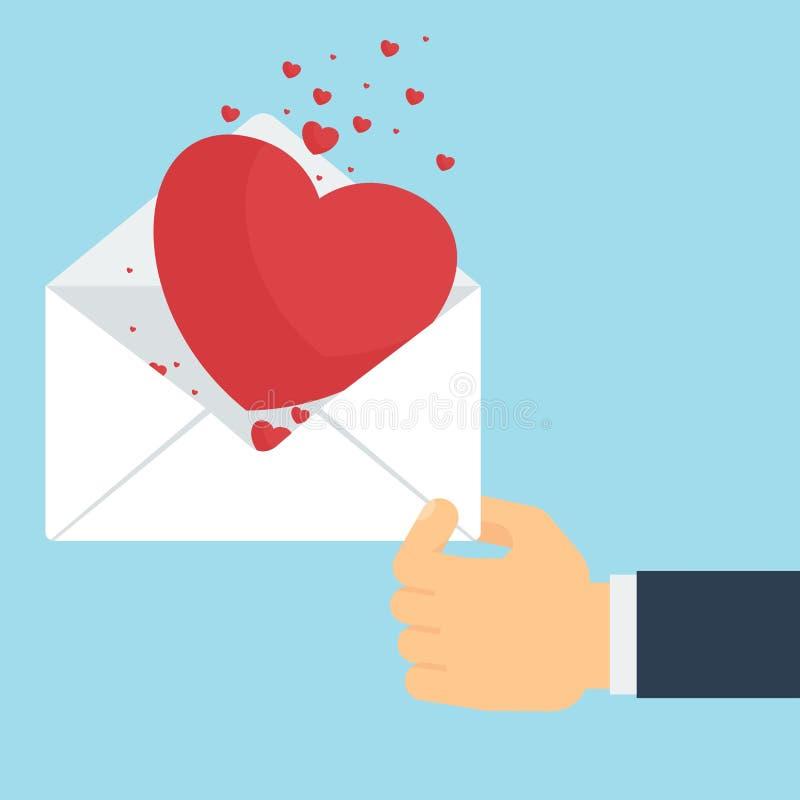 Mão com carta de amor ilustração stock