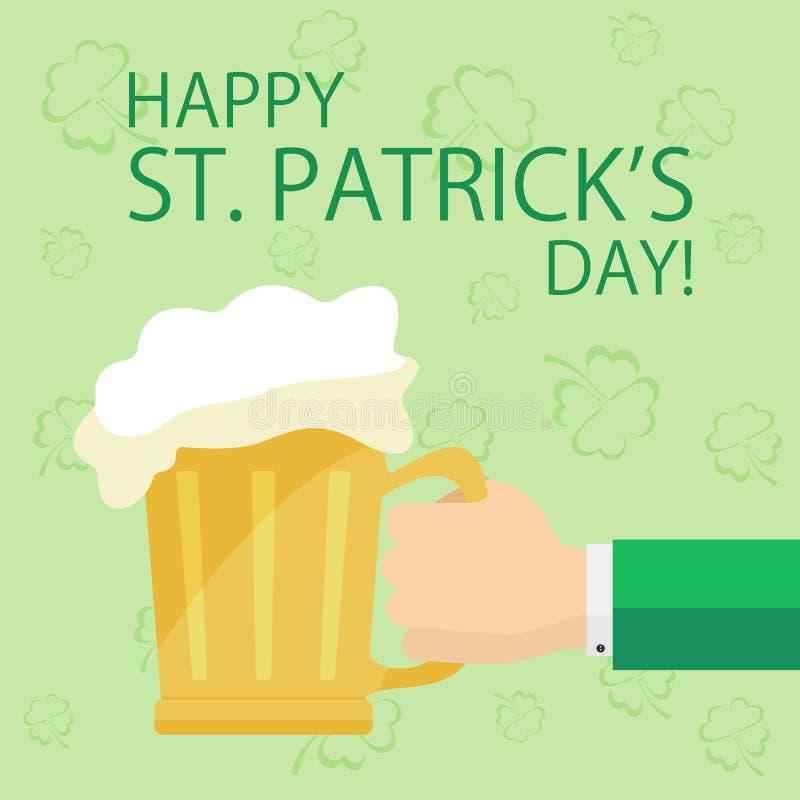 Mão com cerveja no fundo do dia de Patricks ilustração stock