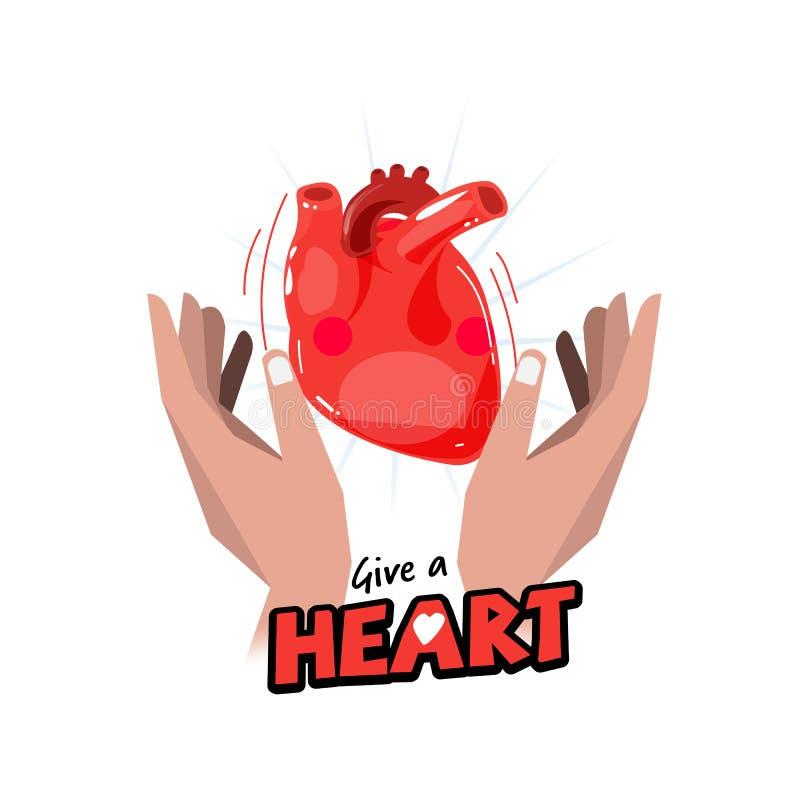 Mão com coração humano conceito da doação da esperança e de órgão logotype ilustração stock