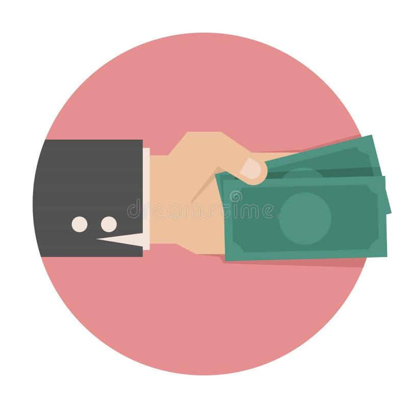 Mão com dinheiro ilustração royalty free