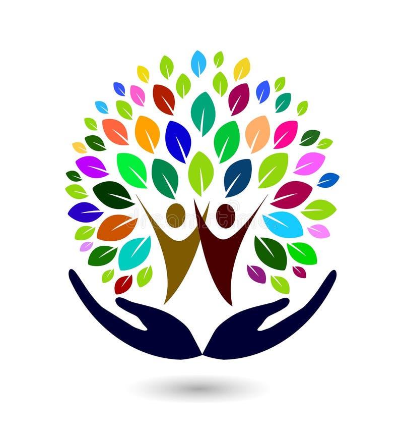 Mão com elemento colorido do ícone do logotipo da árvore da família no fundo branco ilustração do vetor