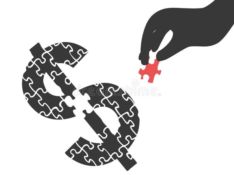 Mão com enigma do dinheiro ilustração stock