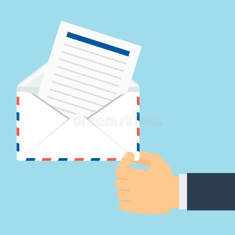 Mão com envelope da tira ilustração do vetor