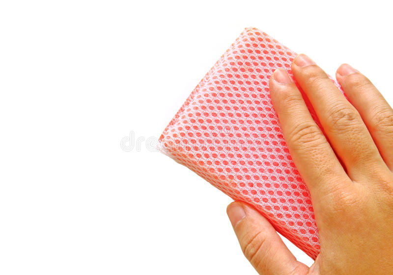 Mão com esponja foto de stock