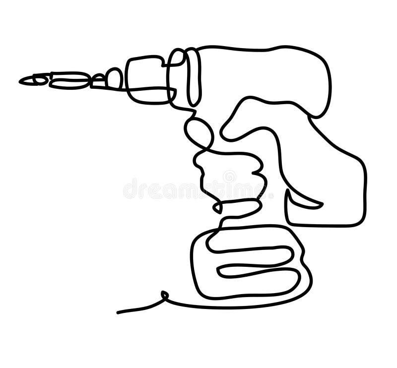 Mão com ferramenta elétrica A lápis desenho contínuo Isolado no fundo branco r ilustração do vetor