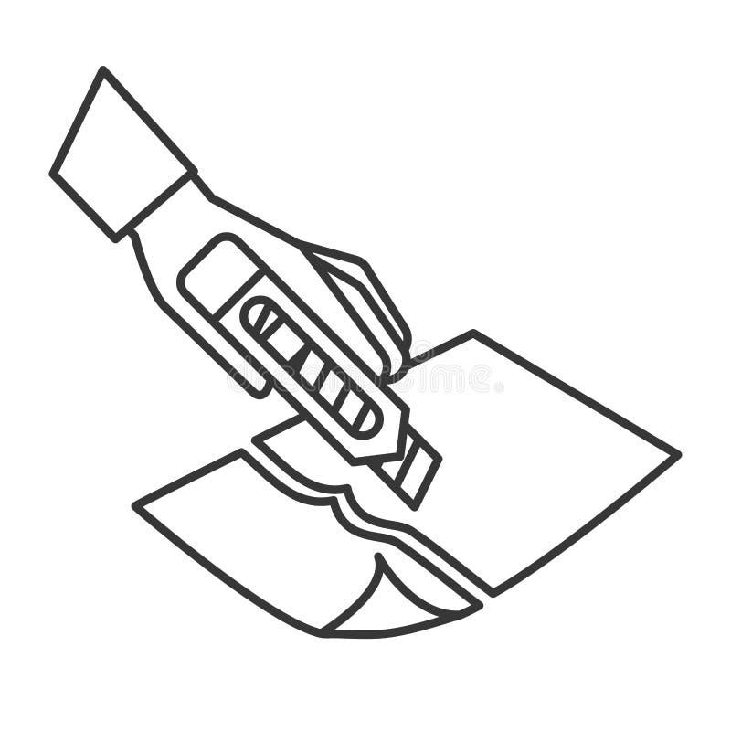 Mão com a ferramenta que corta um papel ilustração do vetor