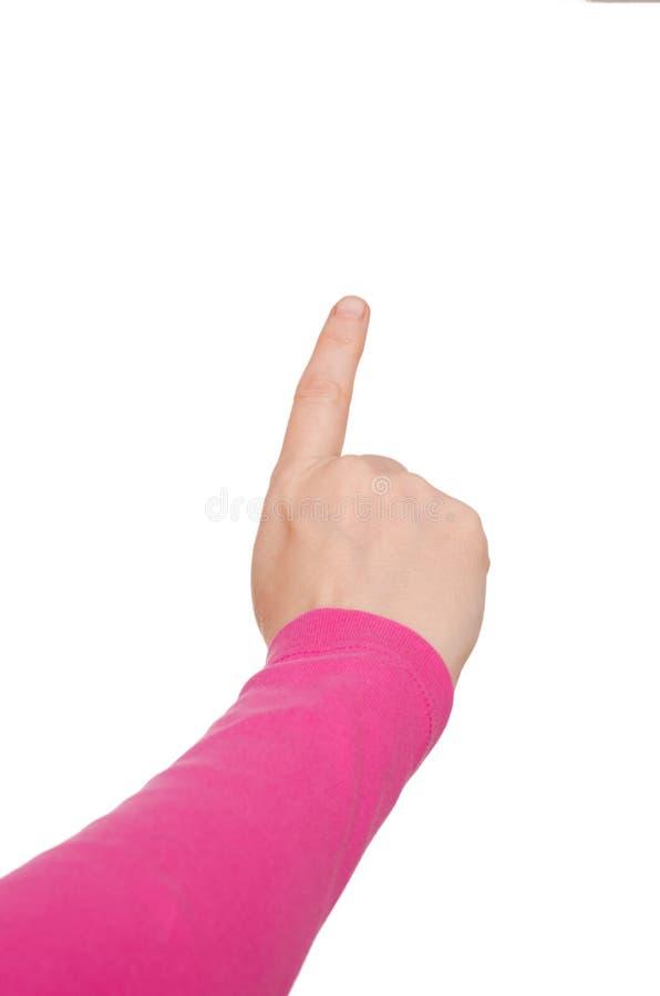 Mão com forefinger esticado foto de stock
