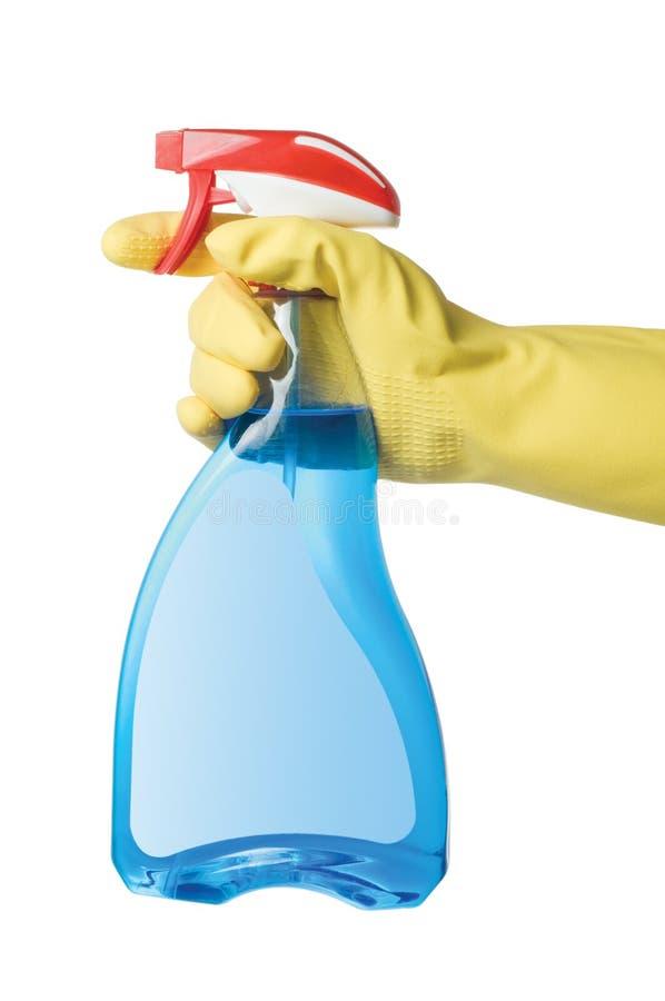Mão com frasco do pulverizador imagens de stock