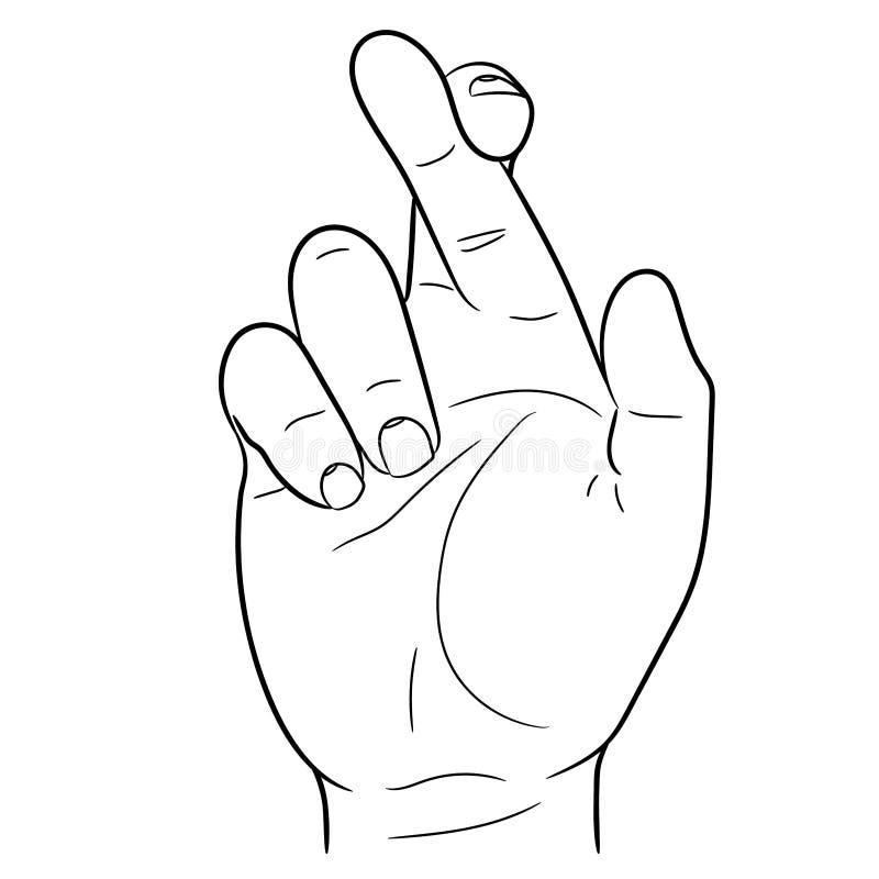 Mão com ilustração cruzada do vetor dos dedos ilustração do vetor