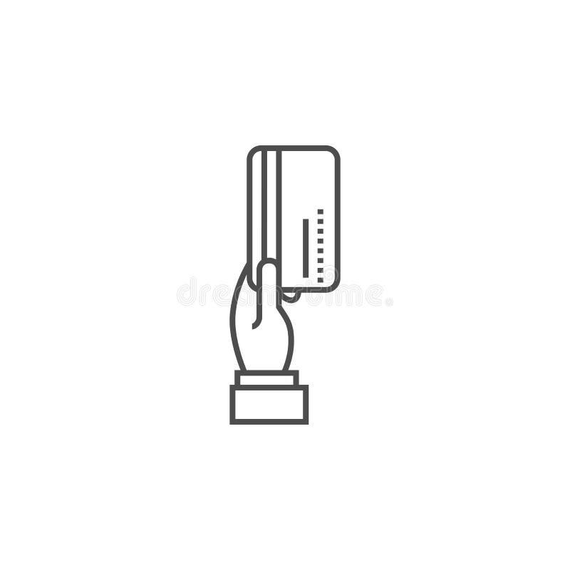 Mão com linha ícone do vetor do cartão de crédito ilustração do vetor