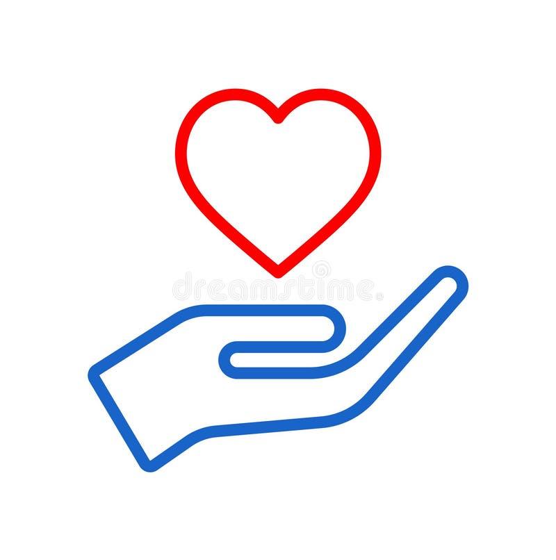 Mão com logotipo vermelho do ícone do coração ilustração do vetor