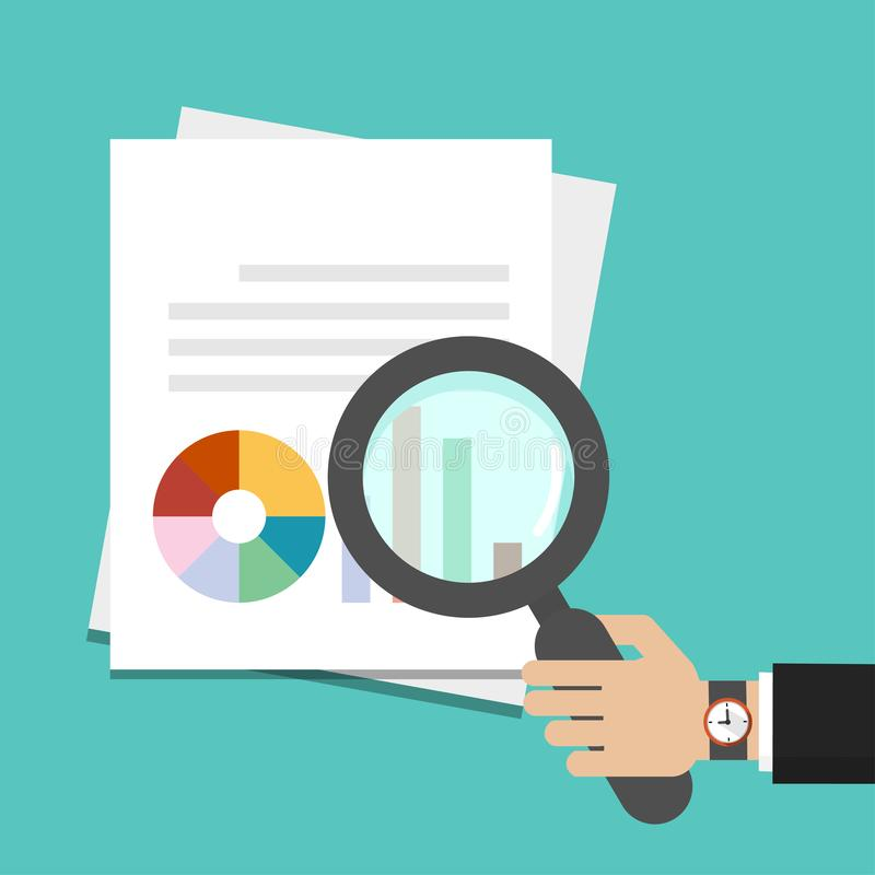 Mão com lupa, conceito do homem de negócios da busca no Livro Branco com gráfico, ícone dos relatórios Conceito da análise de dad ilustração do vetor