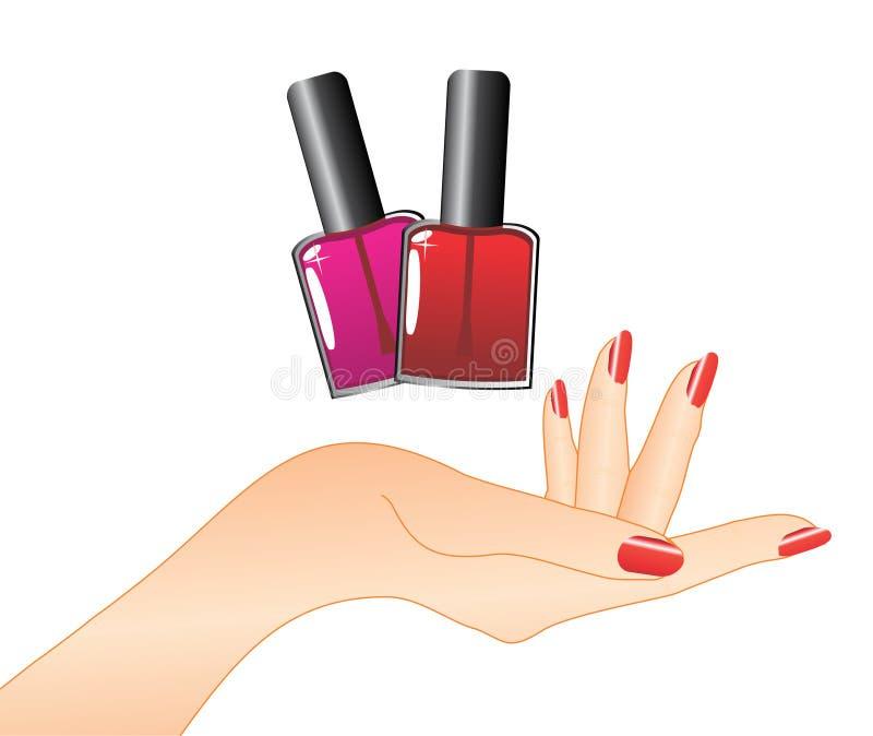 Mão com lustrador de prego vermelho ilustração stock
